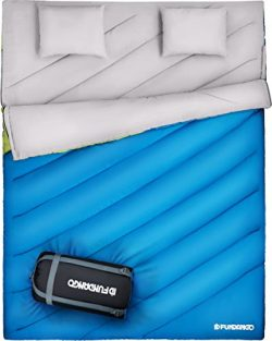FUNDANGO Double Sleeping Bag For Person Backpacking, Camping, Or Hiking. King Size XL! All Weath ...