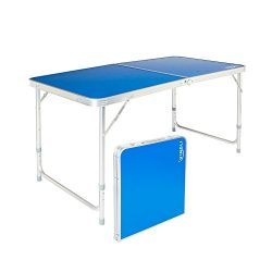 Z ZTDM 4 Foot Folding Table with Carrying Handle, Portable Aluminum Picnic Camping Dining Adjust ...