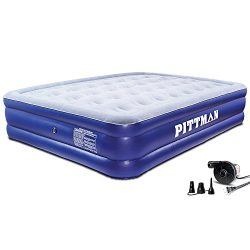 Pittman (PPI QDHPAC) 16″ Queen Double High Home Air Mattress with Portable Electric Air Pump