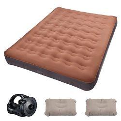 TOPELEK Air Mattress, Queen Air Mattress/W Rechargeable Pump, Pongee Fabrics & Thicken PVC I ...