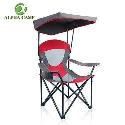 ALPHA CAMP Mesh Canopy Chair Folding Camping Chair – Red