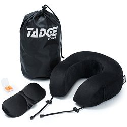 Tadge Goods Neck Travel Airplane Pillow & Accessories – 100% Pure Memory Foam – Sleeping Eye ...