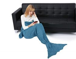 Ninovino Mermaid Tail Blanket Handmade Crochet Blankets All Seasons Sleeping Bag for Adults (78& ...