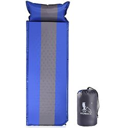 RUNACC Sleeping Pad Self Inflating Mattress Camping Foam Pad with Attached Pillow for Family Act ...