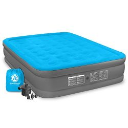 Air Comfort Camp Mate Inflatable Air Mattress: Raised-Profile Bed External Air Pump, Queen