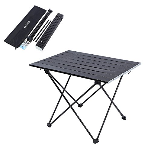 YAHILL Aluminum Folding Collapsible Camping Table Roll up 3 Size with Carrying Bag for Indoor an ...