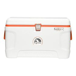 Igloo Super Tough STX Cooler, 54-Quart, White/Orange