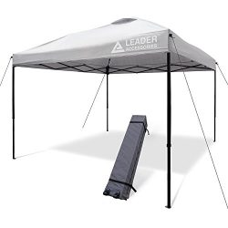 Leader Accessories 10′ x 10′ Instant Canopy Pop Up Canopy White Sliver Straight Leg  ...