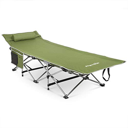 Alpcour Folding Camping Cot with Comfortable Pillow, Side Pocket and Convenience Carry Bag ̵ ...