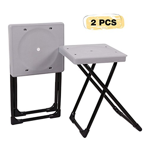 REDCAMP Folding Camp Stool Portable, Set of 2, Lightweight Camping Stools Plastic with Durable S ...