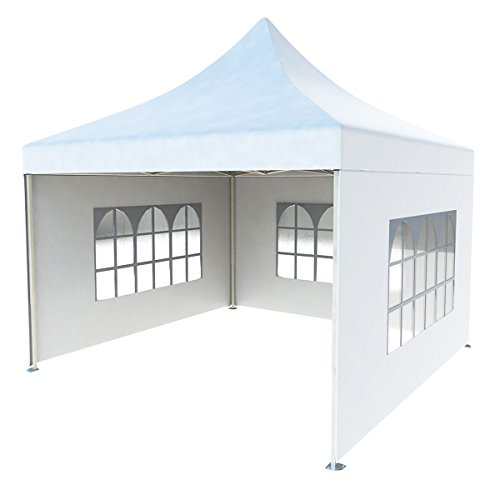 CRINEX 10Ft X 10Ft White Pop Up Portable Shade Instant Folding Outdoor Gazebo Canopy Tent With 3 ...