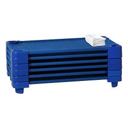 Sprogs Stackable Daycare Cot/Rest Mat Standard w/Sheet, 52″ W x 23″ D, Blue Cot/Whit ...