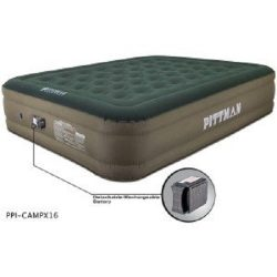 Pittman Outdoors PPI-CAMPX16 Green/Tan Queen 16″ Air Mattress with Built-In Rechargeable B ...