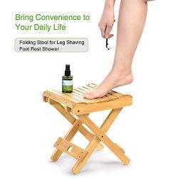 Bamboo Folding Stool for Leg Shaving Foot Rest Portable Streamline Fishing Camping Chair Folding ...