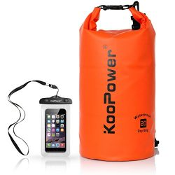 Koopower Dry Bag Sack, 20L Dry Gear Backpack with Universal Waterproof Phone Case for Boating, K ...