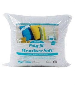 Fairfield Poly-FIL Weather Soft Pillow Insert-Perfect Outdoor Furniture, 20″ x 20″,  ...