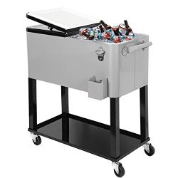 Clevr 80 Qt Outdoor Patio Cooler Rolling Cooler Ice Chest Tub, Grey, Portable Patio Party Bar Co ...