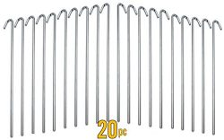 ALAZCO 20pc Galvanized Steel Tent Pegs – Garden Stakes -Heavy Duty – Rust Free