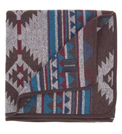 RUTH&BOAZ Outdoor Wool Blend Blanket Ethnic Inka Pattern(L) (SAPPHIRE, LARGE)