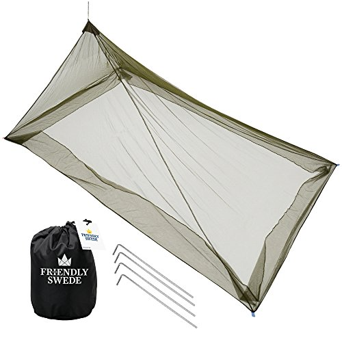 The Friendly Swede Mosquito Net Canopy for Single Camping Bed, Tent Pegs Included – Compac ...