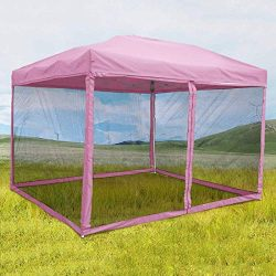 Quictent 10×10 Ez Pop up Canopy Screen House Tent with Netting Mesh Sides Walls (Pink, 10 F ...