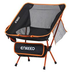 ENKEEO Camping Chair Folding Portable Mesh Picnic Seat with 330 lbs. Capacity, Backrest, Pocket  ...