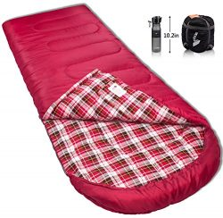 Reisen 0 degree lightweight sleeping bag flannel, cold weather sleeping bags for adults/youth,ca ...