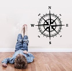 BIBITIME Vinyl Compass Wall Decal Stickers N S W E Direction indicator Sign Home Mural Bedroom K ...