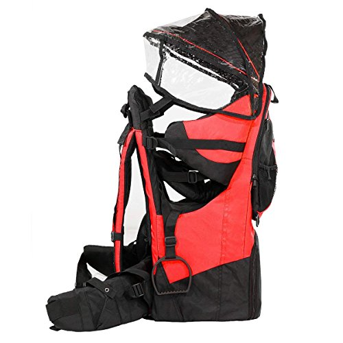SD LIFE Baby toddler Hiking Backpack Carrier with Raincover Child Kid Sun canopy Shield (Red colour)