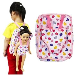 Start_wuvi 15-18-inch doll school bag, 2 soft plush children size backpack with doll carrier Ame ...
