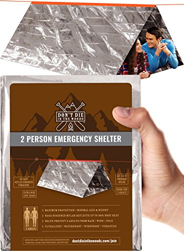 World's 2nd Toughest Ultralight Survival Tent  2 Person Mylar Emergency Shelter Tube Tent + Para ...