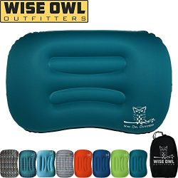 Wise Owl Outfitters Ultralight Inflatable Air Camping Pillow Compressible Compact Inflating Smal ...