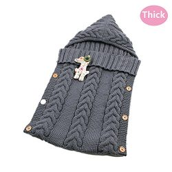 LANSHULAN  Newborn Baby Blanket Toddler Sleeping Bag Sleep Sack Stroller Wrap (#05 Dark Grey)