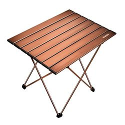 ENKEEO Foldable Camping Table Portable Lightweight Aluminum Desk Carry Bag Picnic, BBQ, Fishing, ...