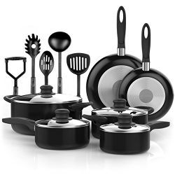 Vremi 15 Piece Nonstick Cookware Set; 2 Saucepans and 2 Dutch Ovens with Glass Lids, 2 Fry Pans  ...
