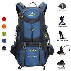 Huwaijianfeng Hiking Backpack, 50L Waterproof Backpack Outdoor Sport Daypack with a Rain Cover f ...