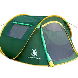 HUI LINGYANG Outdoor Instant 4-Person Pop Up Dome Tent – Easy, Automatic Setup -Ideal Shel ...