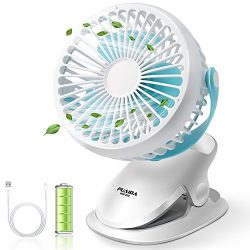 PUAIDA Clip on Baby Stroller Fan, Battery Operated Portable Ultra Quiet Desk Fan with 2500mAh Ba ...