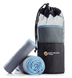 Northbound Train Fast Drying Microfiber Towel Set for Gym, Travel, Camping, Hair. Large Bath and ...