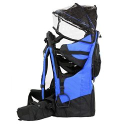 SD LIFE Baby toddler Hiking Backpack Carrier with Raincover Child Kid Sun canopy Shield (Blue co ...