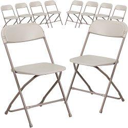 Flash Furniture 10 Pk. HERCULES Series 800 lb. Capacity Premium Beige Plastic Folding Chair