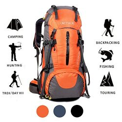 ONEPACK 70L Internal Frame Hiking Backpack with Rainfly (65+5L) Backpacking Bag with Waterproof  ...