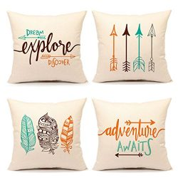 Inspirational Quote Throw Pillow Case Cushion Cover Decorative Cotton Linen 18″ x 18″ ...