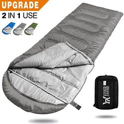 WINNER OUTFITTERS Camping Sleeping Bag, Portable Lightweight Rectangle/Mummy Backpacking Sleepin ...