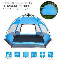 BATTOP 4 Person Tent [Double-Uses] Instant Pop Up Family Camping Tent – Double Layer ̵ ...
