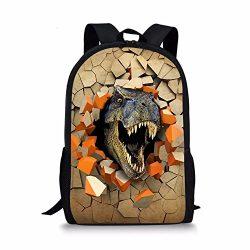 Advocator 3D Cartoon Dinosaurs Printed Designer Elementary Backpacking Packs