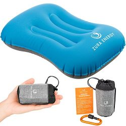 Zura Energy Inflatable Travel Camping Pillow + Locking Carabiner + eBook, Comfortable, Ultraligh ...