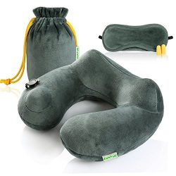Zonyor Ultra light U Shape Camping Travel Pillow Inflatable Backpacking Soft Velvet Push-Button  ...