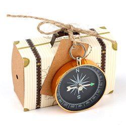 Yalulu 10pcs Mini Suitcase Kraft Paper Candy Box Rustic Wedding Favors Candy Holder Bags Wedding ...