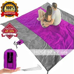 chanvi Large Beach Blanket Handy Sand Mat- Extra Size 9′ x 10′ Holds 7 Adults with S ...